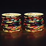 EarthenMetal Handcrafted Matki Shaped Colourful Bangles Decorated Tealight Holder (Candle Light Holder)- Set Of 2