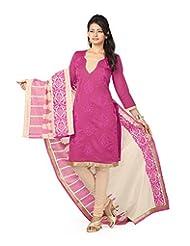 Arohi Women's Silk Cotton Round Neck Salwar Suit (Pink)