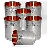 DakshCraft Handmade Drinking Stainless Steel Inside Copper Glass From India, Set Of 6