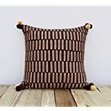 Brown And Beige Pillow Cover Embroidered Cushion Cover Mola Style Pillows Standard Size 16X16 Inches