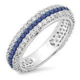 14K White Gold Round White Diamond & Blue Sapphire Ladies Pave Set Anniversary Wedding Eternity Band