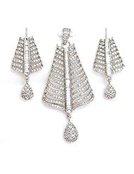 Orne Jewels American Diamond Pendant Set For Women