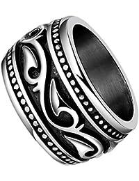 Phenovo Fashion Finger Rings 316L Steel Wave Pattern Jewelry Wedding Men Ring US 9