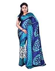 Surat Tex Cream & Green Crepe Daily Wear Printed Sarees With Blouse Piece-E581SE1004DST