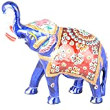Rajgharana Handicrafts Multi Color Metal Meenakari Delightful Elephant - (13 Cm X 16 Cm)