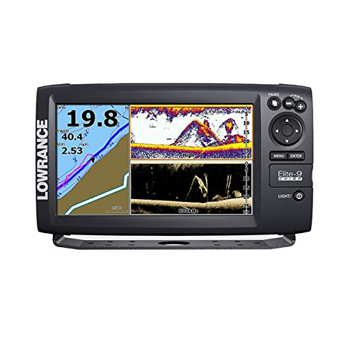 Lowrance 000-12178-001 Elite-9 Fishfinder/Chartplotter with Navionics+, 50/200KHz CHIRP and 455/800KHz DownScan Transducer