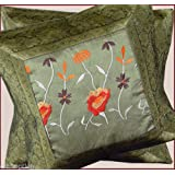 CRAFT OPTIONS SILK BROCADE EMBROIDERED CUSHION COVER (GREEN COLOR)