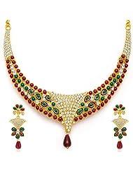 Sukkhi Creative Gold Plated Meenakari AD Necklace Set