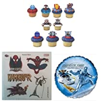 24 Marvel Super Hero Cupcake Rings - 10 Spiderman Tattoos and Fantastic Four Mylar Bundle