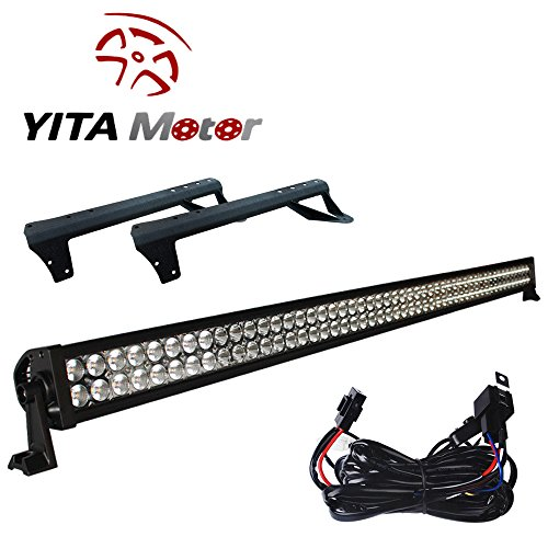 YITAMOTOR 1X 54″/52″ inch 300W LED Light Bar+ Mounting Brackets For Jeep JK Wrangler Wiring Kit