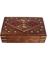 Craftgasmic Beautiful Handcrafted Wooden Jewellery Box With Carving/Chest 6X4''