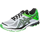 Asics Men's Gt-1000 4 White, Black And Green Mesh Running Shoes - 12 UK