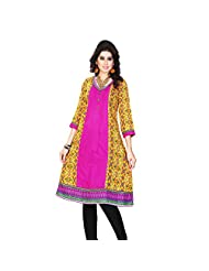 Miss & Mrs Party Wear 3/4 Sleeve Printed Cotton Women's KurtiX-Large - B00XND4H8C