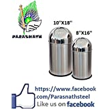 "Parasnath Stainless Steel Push Can Dustbin/ Stainless Steel Garbage Bin/ Medium And Large / - 13 Litre (8""x16""..."