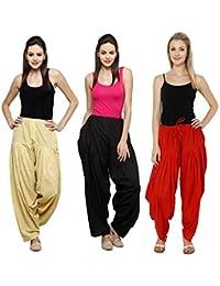 Fashion Store Women's Cotton Patiala Salwar Combo (Black, Red & Beige & Free Si