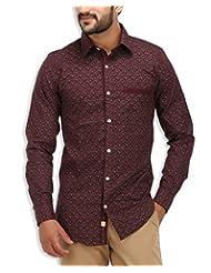 SPEAK Men's Brown Floral Print Cotton Casual Shirt