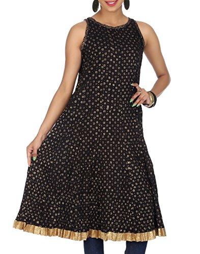 Rajrang Women Gold Printed Tops Tunic Long Kurti Size S