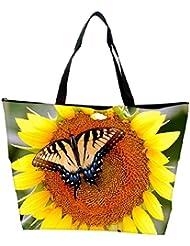 Snoogg Butterfly Seeking Honey From Sunflower Designer Waterproof Bag Made Of High Strength Nylon