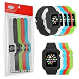 Sports-Band Multi-Pack For Apple Watch 42mm - Silicone Gel Wrist Strap With Built-in Watch Frame Surround Includes...