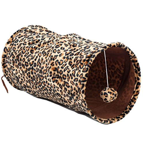 Favorite Medium Cat Tunnel Foldable Lightweight Fun Dangling Ball Toy, Leopard