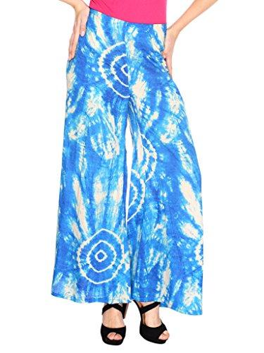 Fashion205 Blue And White Printed Cotton Satin Palazzo