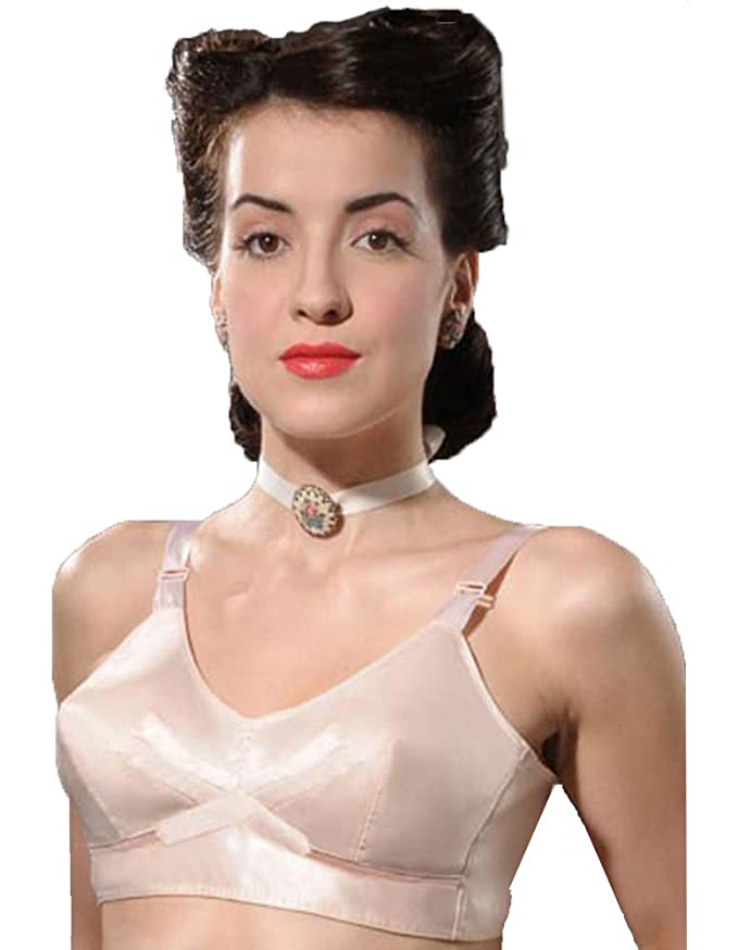 1940s Lingerie- Bra, Girdle, Slips, Underwear History 1940s Vintage Peach Bullet Bra                                                           $52.50 AT vintagedancer.com