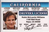 Robin Williams Novelty Drivers License / Fake I.d. Identification for Mrs. Doubtfire / Dead Poets Society Fans