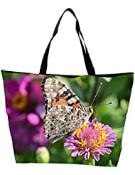 Snoogg Multicolor Butterfly In Pink Flower Designer Waterproof Bag Made Of High Strength Nylon