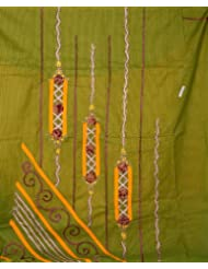 Exotic India Olive Green And Amber Suit With Beads And Threadwork - Olive