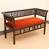 "ExclusiveLane Elegant Teak Wood ""Royal"" 2 Seater Sofa With Dhokra Work In Walnut Brown - Wooden Sofa / Living..."