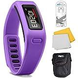 Garmin Vivofit Fitness Band With Heart Rate Monitor (Purple) Plus Accessory Bundle. Bundle Includes Xtreme Audio...