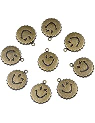 20 Pieces Happy Face Positive Powers Lucky Charms Findings For Jewelry Pendants Necklace Making 25mm
