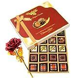 Valentine Chocholik's Belgium Chocolates - Tempting Chocolate Gift Box With 24k Red Gold Rose