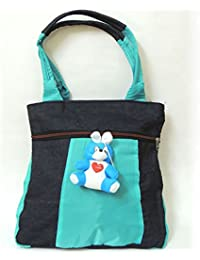 Tall Design Blue And Blue Denim With Teddy Totes Bag For Ladies And Girls