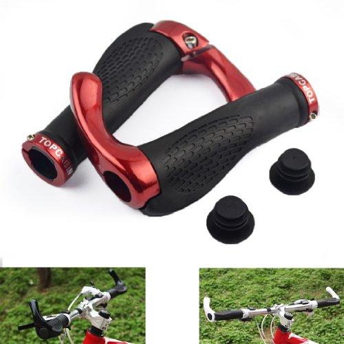 TOPCABIN® Ox Horn Silicone Ergonomic Handlebar Grips for Moutain Bike (red)