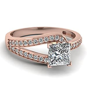 Engagement Ring Pave Set 1.15 Ct Princess Very Good Cut Diamond SI1 F-Color GIA Certificate # 1152260829