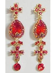 Red Stone Studded Dangle Earrings - Stone And Metal - B00K4F66GI