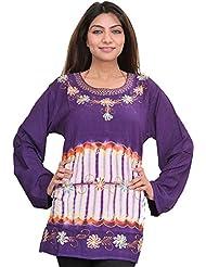 Exotic India Petunia-Purple Kurti With Batik Print And Thread Work - Purple