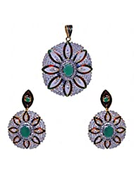 Emerald & Cubic Zircon Stone Studded Pendant & Earring Set With Enamel Work