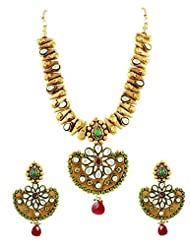 Chand Shaped Golden Necklace Set With Ruby & Emerald Drops