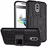 CEDO Tough Hybrid Back Cover Case With Kickstand For Moto G Plus 4th Gen (G4 Plus / 4th Generation) - Black
