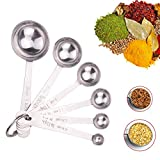 Ilyever 6 Piece High Quality,Engrave Stainless Steel Measuring Spoons Set For Cooking,Measuring Dry And Liquid...