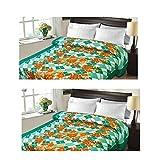 Christy's Collection Super Soft Printed 2 Piece Cotton Blend AC Double Blanket - Multicolor - B0166E7SLC