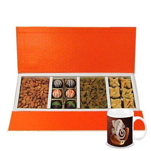 Chocholik Belgium Chocolates - Rich Treat Of Almonds, Raisin,truffles And Baklava Gift Box With Diwali Special...