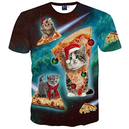 1911NCメンズ3Dプリント ヒップホップ おもしろ おしゃれ ファッション ロック スタイル 人気 カットソー ピサ 猫 柄Tシャツ 半袖 夏