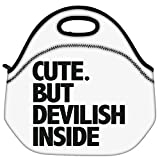 Snoogg Cute But Devilish Inside Travel Outdoor Carry Lunch Bag Picnic Tote Box Container Zip Out Removable Carry...
