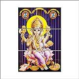 NISH! 'Religious & Spiritual' Collection | Shree Ganesha Painting On Tiles | Wall Art Highlighter Designer Digital Tiles (Ceramic Tiles - Gloss Finish, 2ft X 3ft, UV Cured, Set Of Three 1ft X 2ft Tiles) For Home, Living Room, Drawing Room, Temple