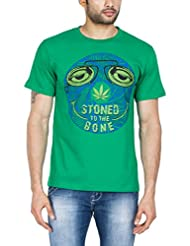 Zovi Men's Cotton Stoned Pepper Green Graphic T-shirt (11376206101)