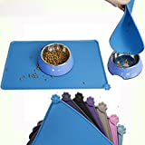 Generic Blue, 47X30CM : Colorful Waterproof Pet Food Grade Silicone Mat For Dog Cat Bowl Drinking Mat Feeding Feeder Placemat Easy Washing Pet Supplies