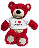 Plush Bear Toy with I Love Amistad t-shirt (first name/surname/nickname)